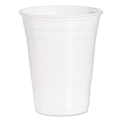 Solo Party Plastic Cold Drink Cups, 16-18 oz., White, 1000/Carton