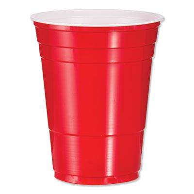 Solo Plastic Party Cold Cups, 16 oz., Red, 1000/Carton