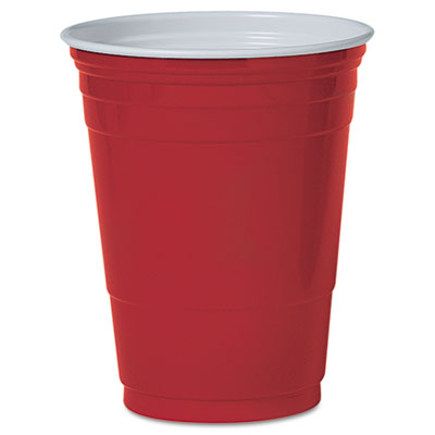 Solo Plastic Party Cold Cups, 16 oz., Red, 50/Pack
