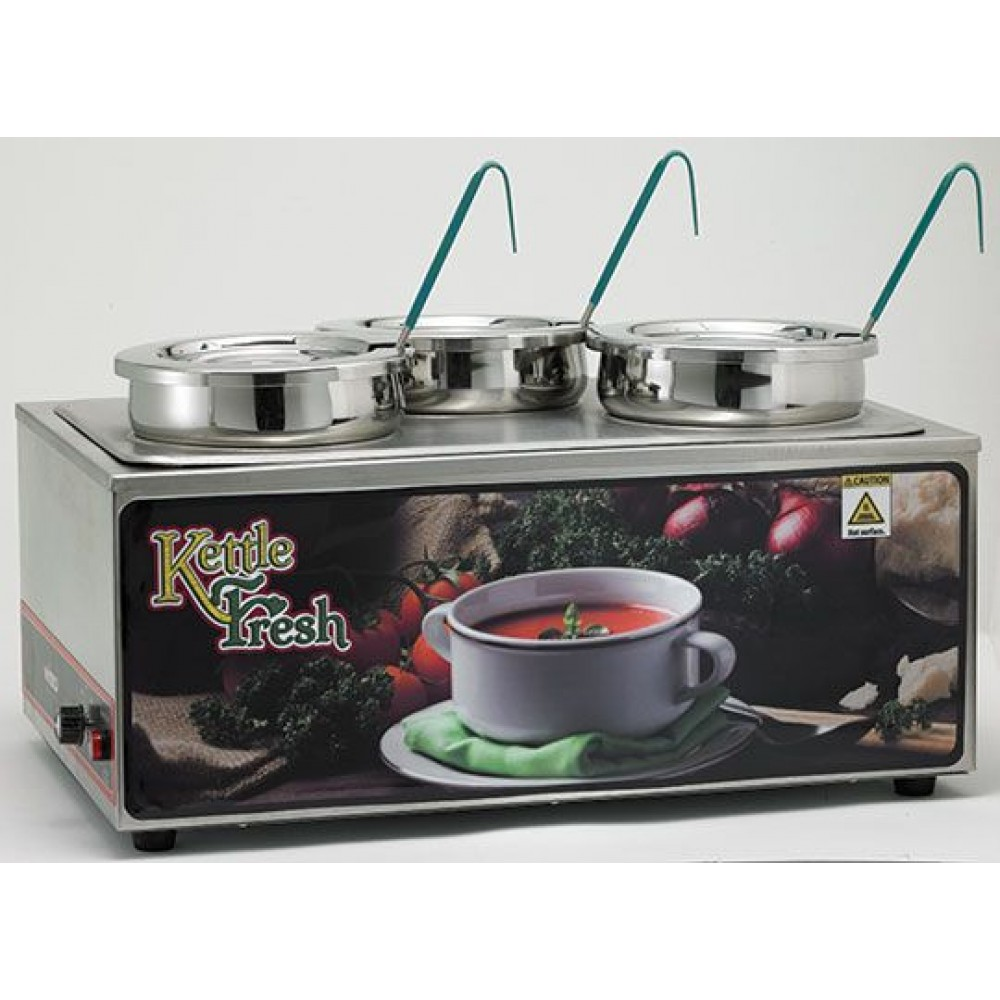 "Winco ESM-34KNB Soup Merchandiser ""Kettle Fresh"" with Three 4 Qt. insets, without Menu Board"