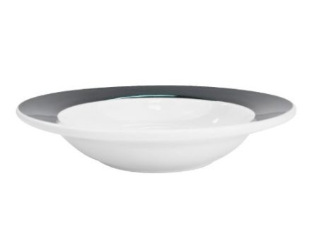 CAC China R-3-BLK Rainbow Black Rolled Edge Rim Soup Plate 12 oz.