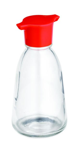 TableCraft 888 Soy Sauce 5 oz. Bottle with Red Plastic Top