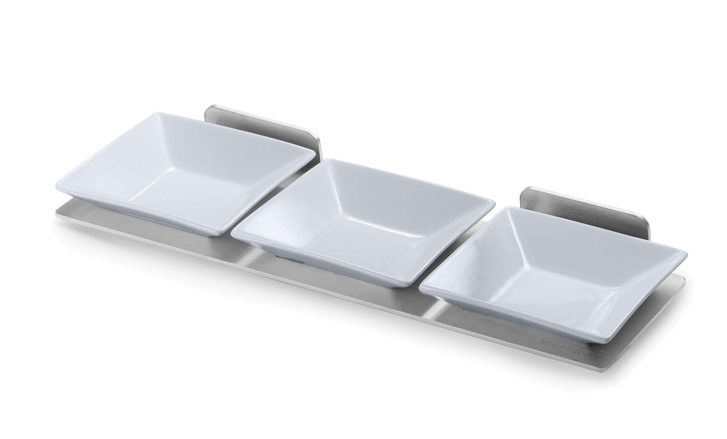 "Rosseto SM215 Spice Shelf with Stainless Steel Frame & 3 Porcelain Bowls 14"" x 4.5"" x 2"""