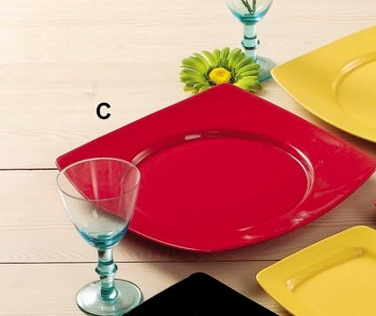 """CAC China R-SQ21BK Clinton Color Round in Square Plate Black, 11 7/8"""""""