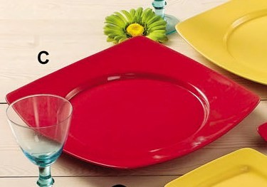 CAC China R-SQ21R Clinton Color Round in Square Plate Red, 11 7/8""