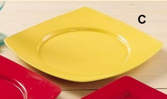 """CAC China R-SQ8YW Clinton Color Round in Square Plate Yellow, 8 7/8"""""""