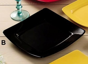 CAC China R-S6QBK Clinton Color Square in Square Plate, Black, 6 7/8""