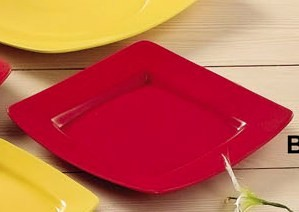 CAC China R-S8Q-R Clinton Red Square in Square Plate, , 8 7/8""
