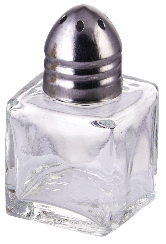 Winco G-100 Square .5 oz. Glass Salt/Pepper Shaker with Chrome Top