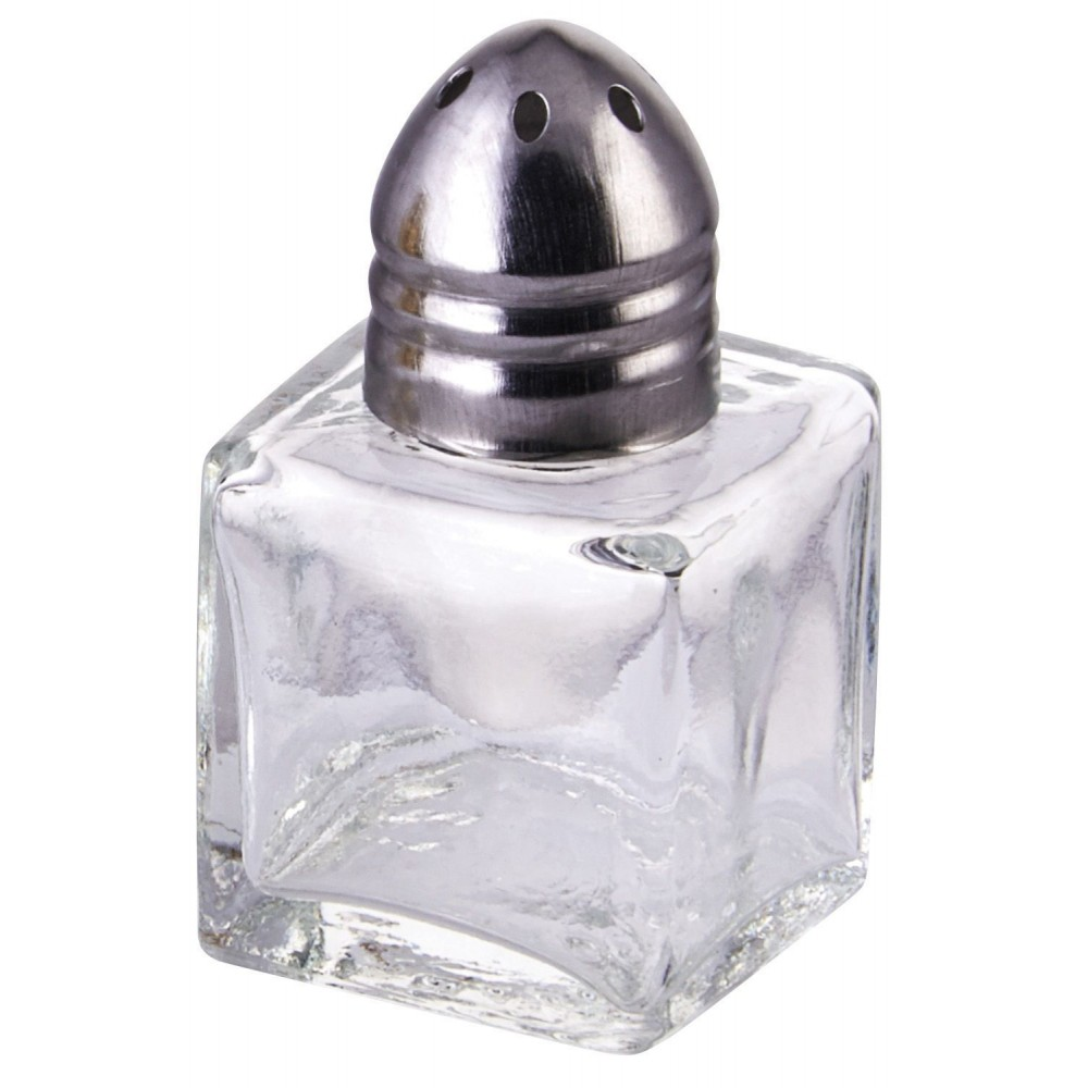 Square .5 Oz Glass Salt / Pepper Shaker With Chrome Top