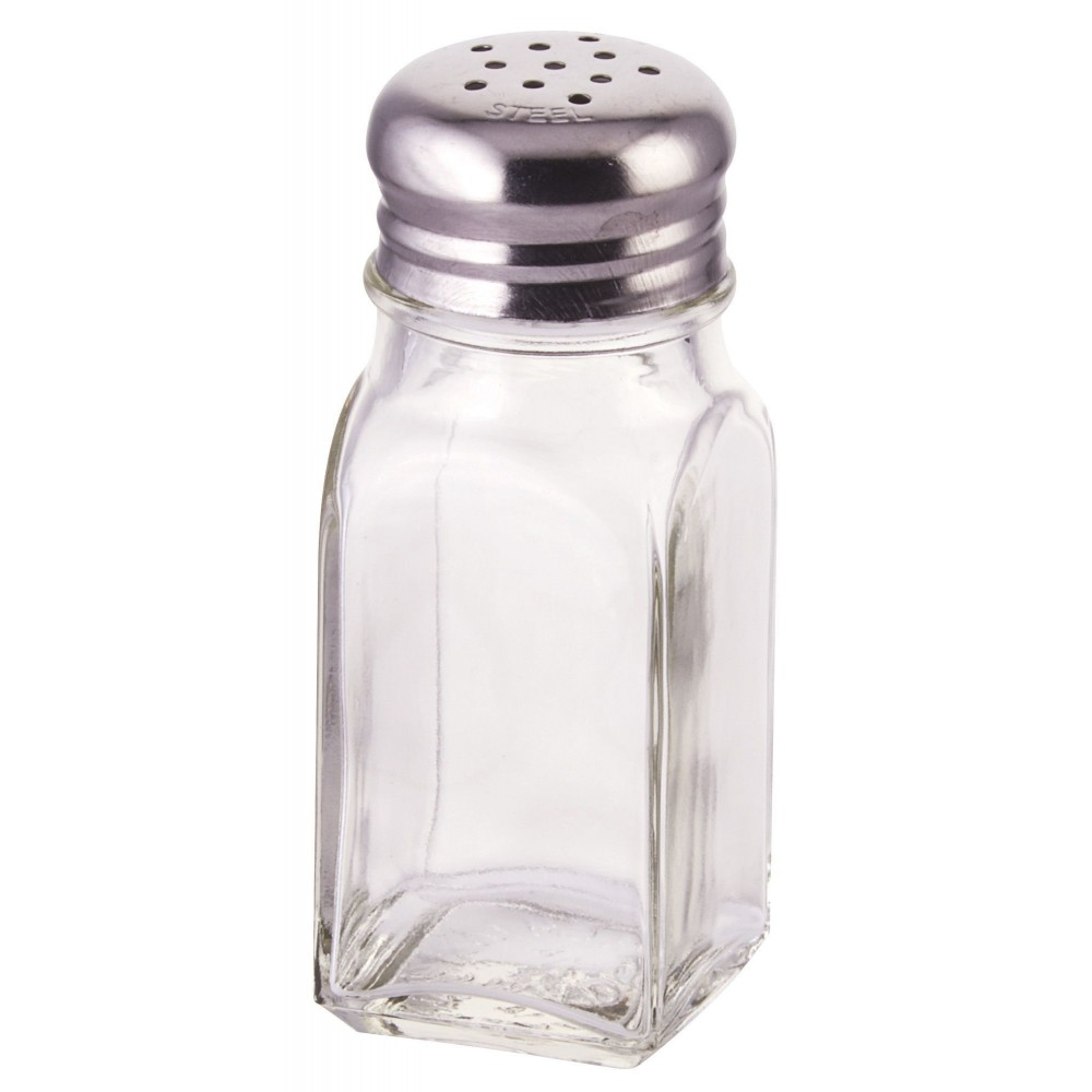 Square 2 Oz. Glass Salt Shaker With Mushroom Top