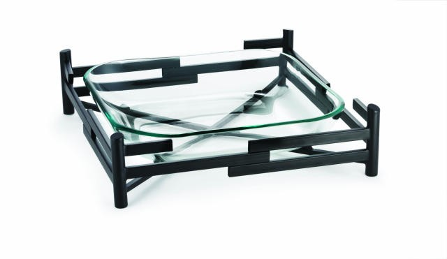"TableCraft FN1919 Blackwell Square Glass Bowl & Black Rack 19"" x 19"" x 4-3/4"""