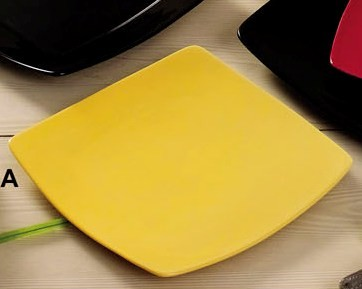 Square Flat Plate Yellow, 8 7/8
