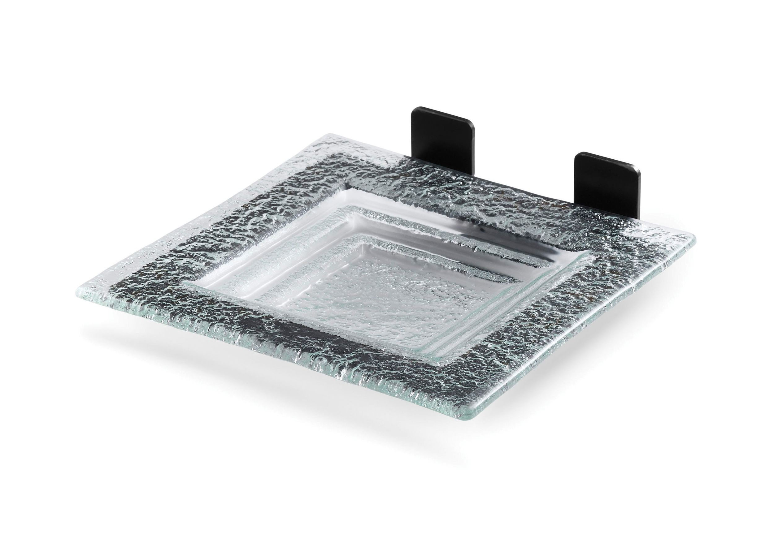 "Rosseto SM209 Square Green Glass Shelf with Black Matte Metal Frame for Skycap 8.5"" x 7.8"" x 2.3""H"