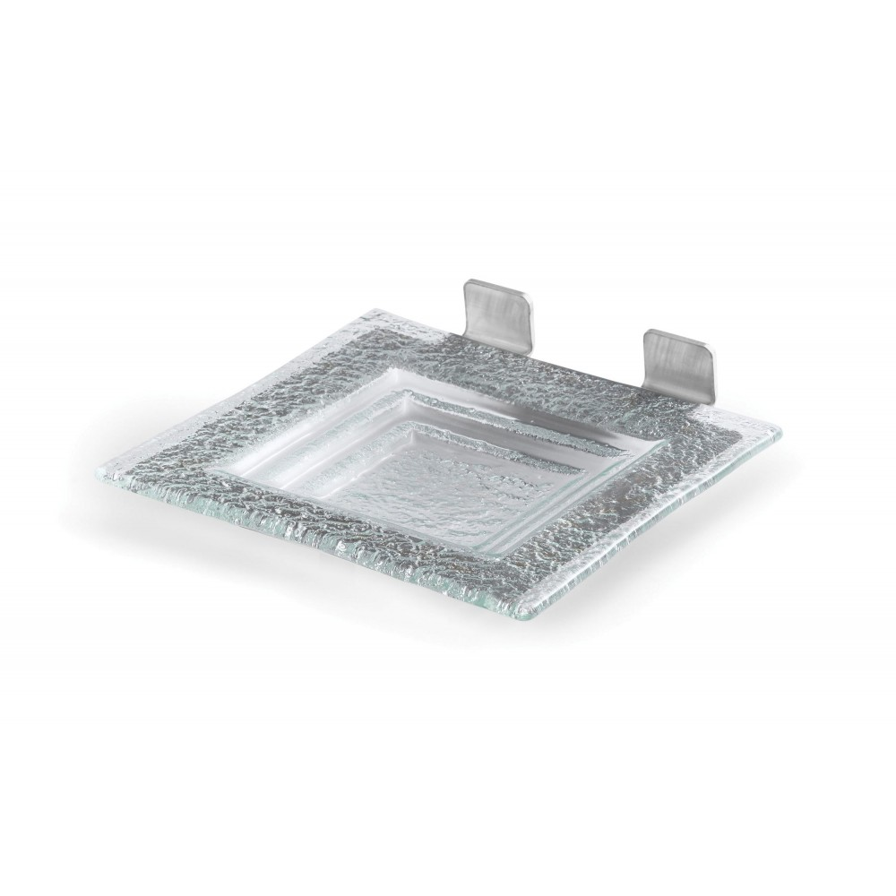 Square Green Glass Shelf for  Includes: 1 Glass Platter, Stainless Steel Frame- 8.5
