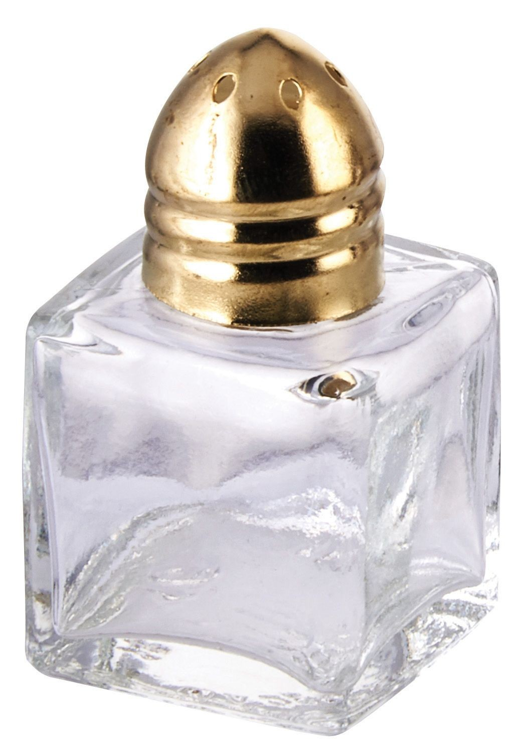 Winco G-101 Square 1/2 oz. Mini Glass Salt/Pepper Shaker with Brass Top