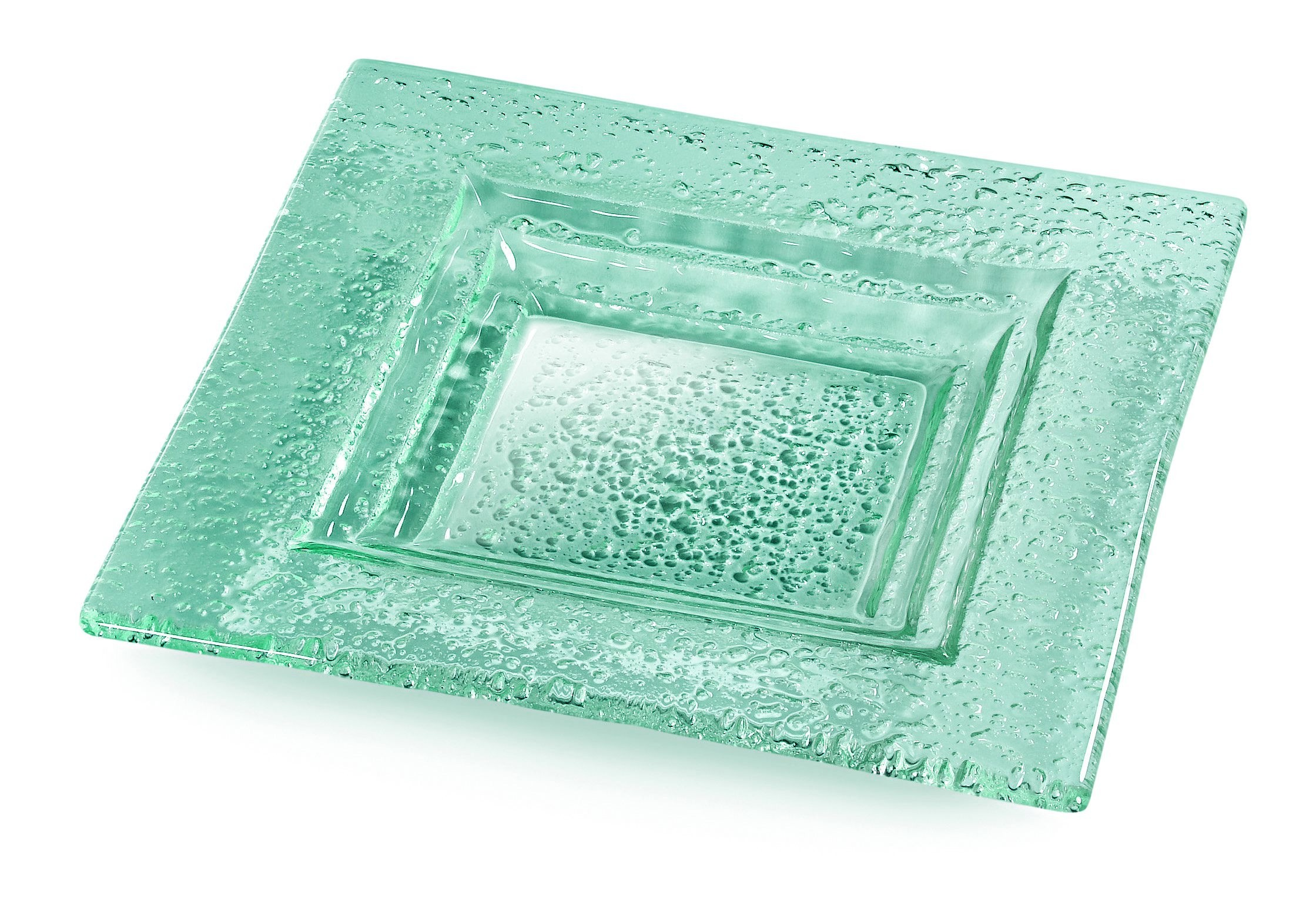"Rosseto GSP08 Square Green 8"" Glass Serving Platter, Set of 3"