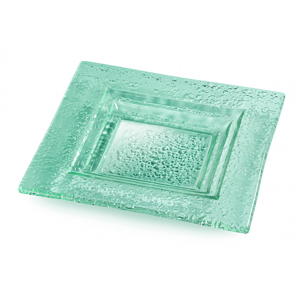 "Rosseto GSP14 Square Green 14"" Glass Serving Platter, Set of 3"