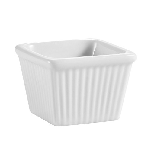 "CAC China RKF-SQ2 Square Fluted Ramekin 2 oz., 2 1/8"" x 1 7/8"""