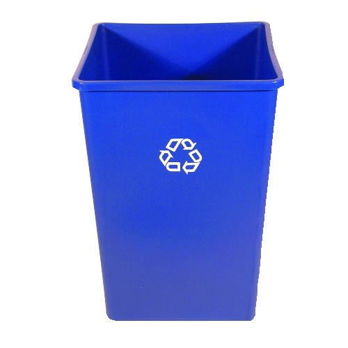 Square Recycle Receptacle, 35 Gallon, Blue