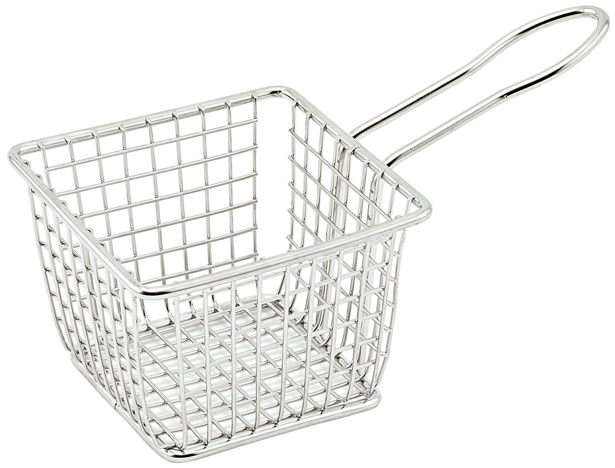 "Winco FBM-443S Square Stainless Steel Mini Fry Basket 4"" x 4"" x 3"""