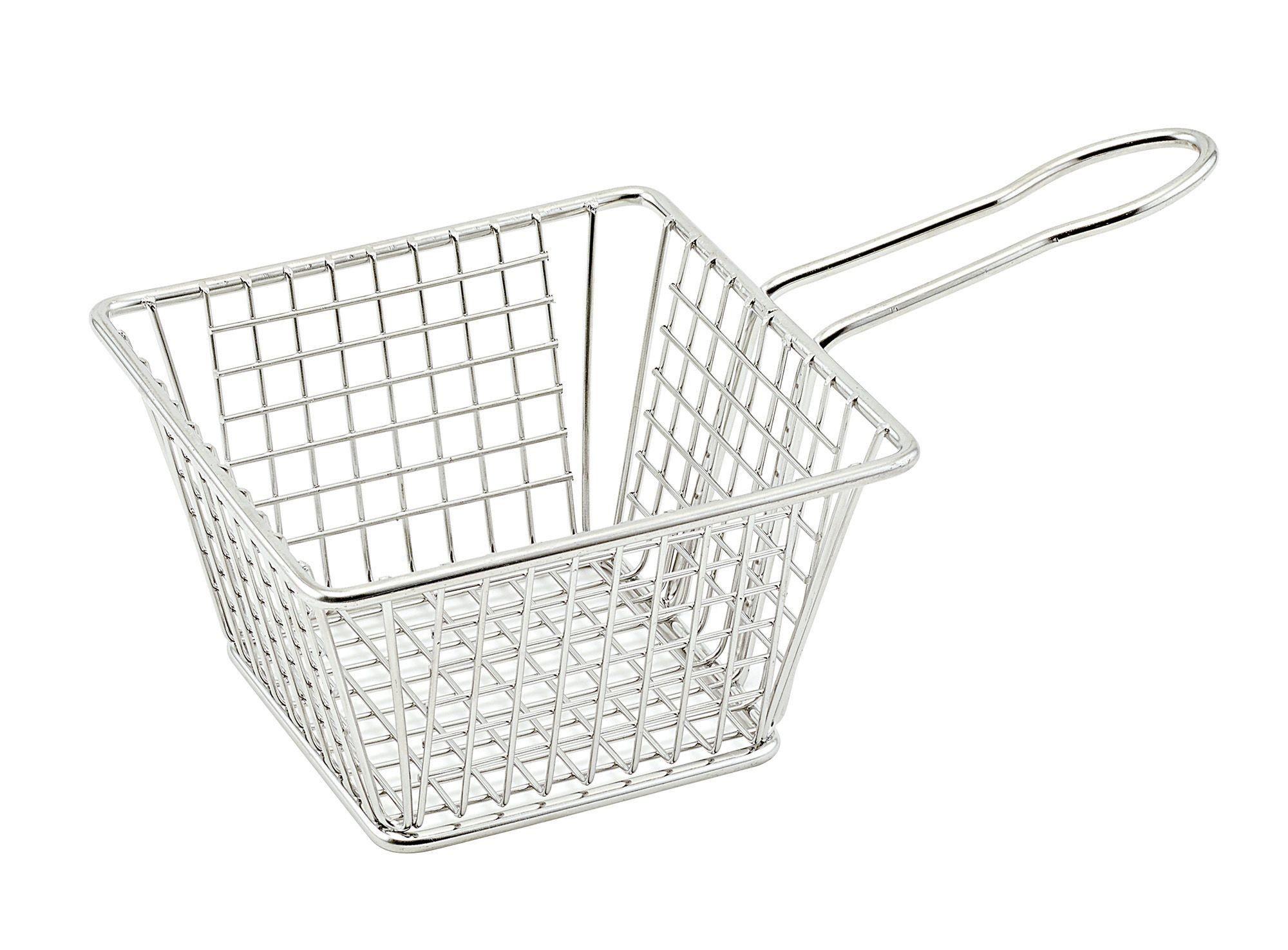 "Winco FBM-554S Square Stainless Steel Mini Fry Basket 5"" x 5"" x 4"""