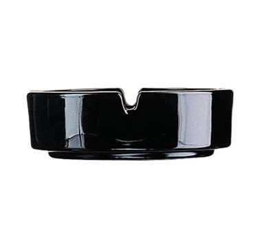 "Cardinal 187 Black Luminarc Stacking Glass Ash Tray, 4-1/4"" dia."
