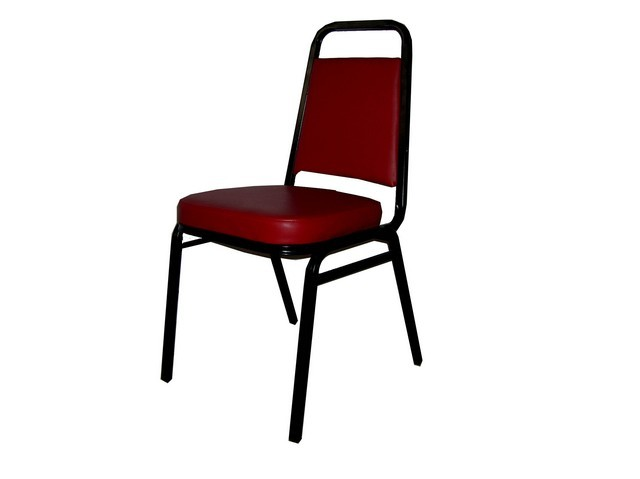Stacking Chair With 2 Thick Burgundy Pad Seat