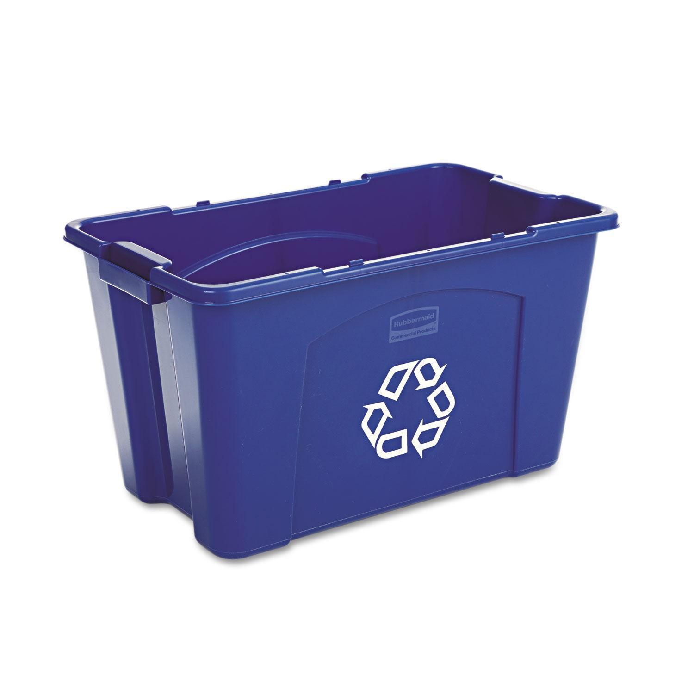 Stacking Recycle Bin, Rectangular, 18 Gallon, Blue