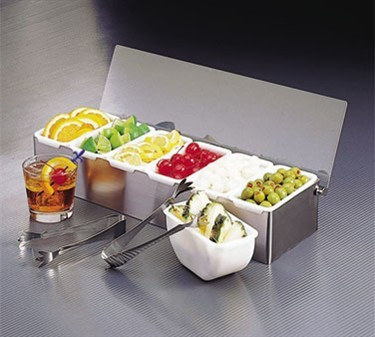 Stainless Bar Condiment Caddy With (5)1-Pint Plastic Containers
