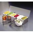 Stainless Bar Condiment Caddy With (6)1-Pint Plastic Containers