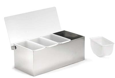 """TableCraft 1603 Stainless Steel 4-Compartment Condiment Holder, 11-7/8"""" x 4-4/9"""""""