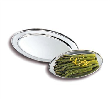 Stainless Rolled Edge Oval Serving Platter - 25-9/16