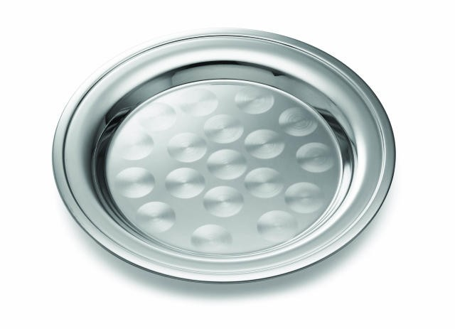 Stainless Rolled Edge Round Catering Tray With Swirl Pattern - 14
