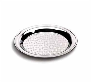 Stainless Rolled Edge Round Catering Tray With Swirl Pattern - 16