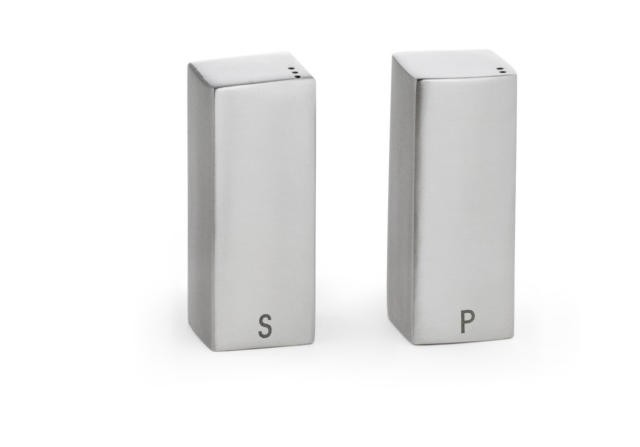 TableCraft 167 Stainless Steel 1-1/2 oz. Square Salt & Pepper Shakers