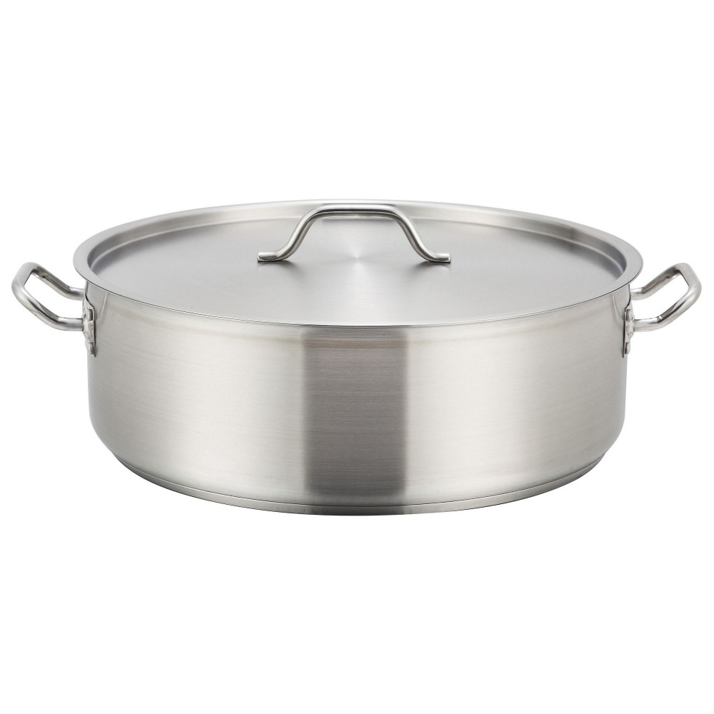 Stainless Steel 25-Quart Brazier with Lid