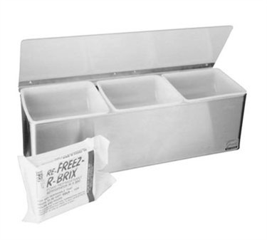 Franklin Machine Products  150-3530 Stainless Steel 3-Section Condiment Tray with Plex Lid