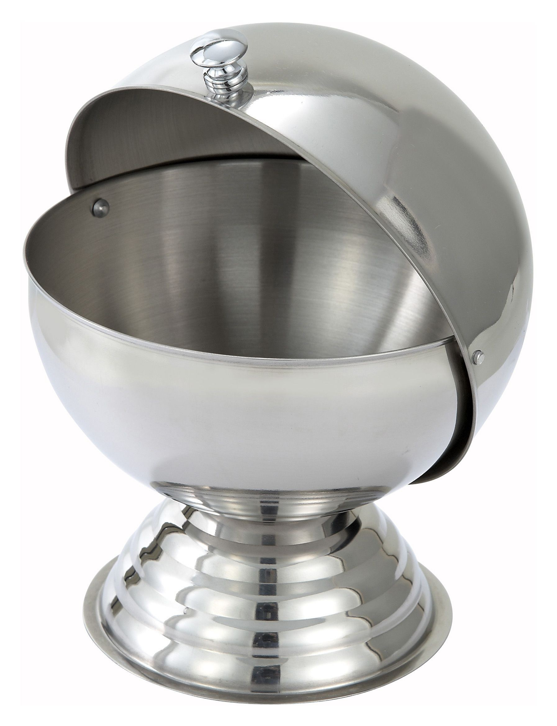 Winco SBR-30 Stainless Steel Sugar Bowl with Roll Top Lid 30 oz.