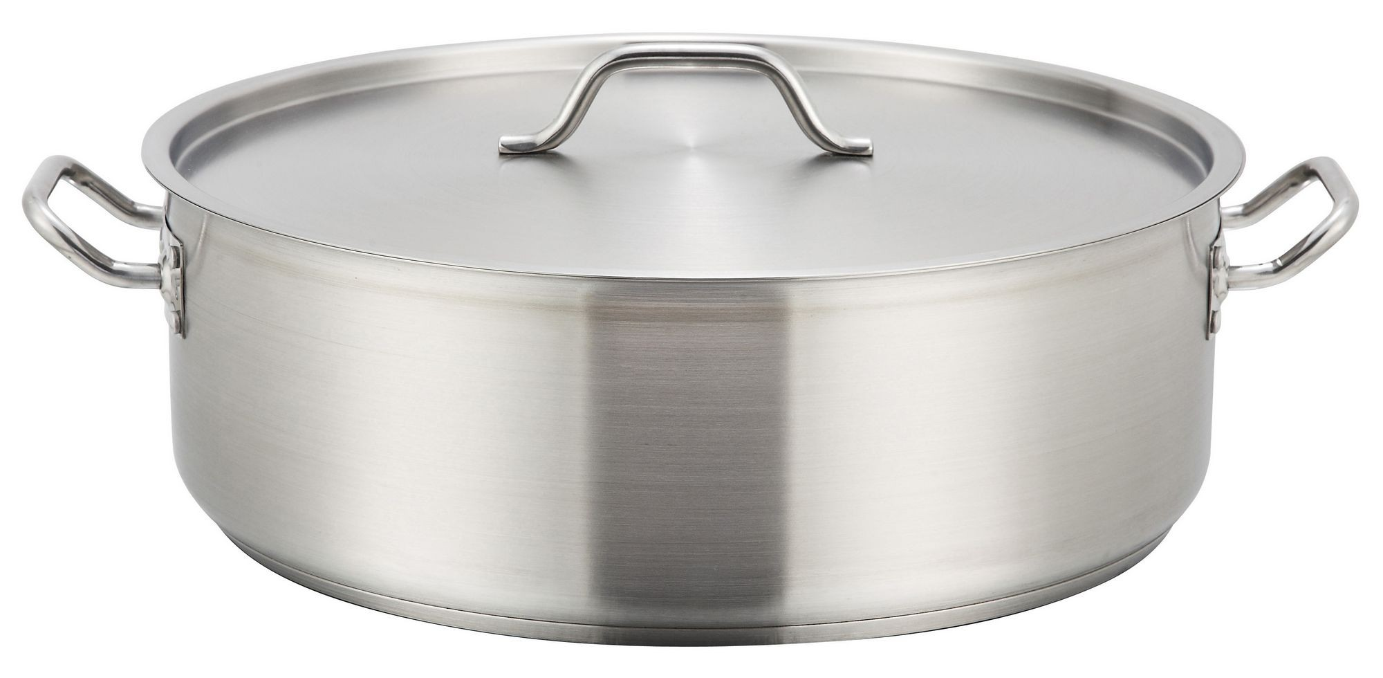 Winco SSLB-30 Stainless Steel 30 Qt. Brazier with Lid