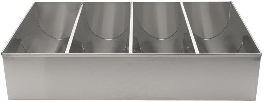 Stainless Steel 4-Compartment Cutlery Bin