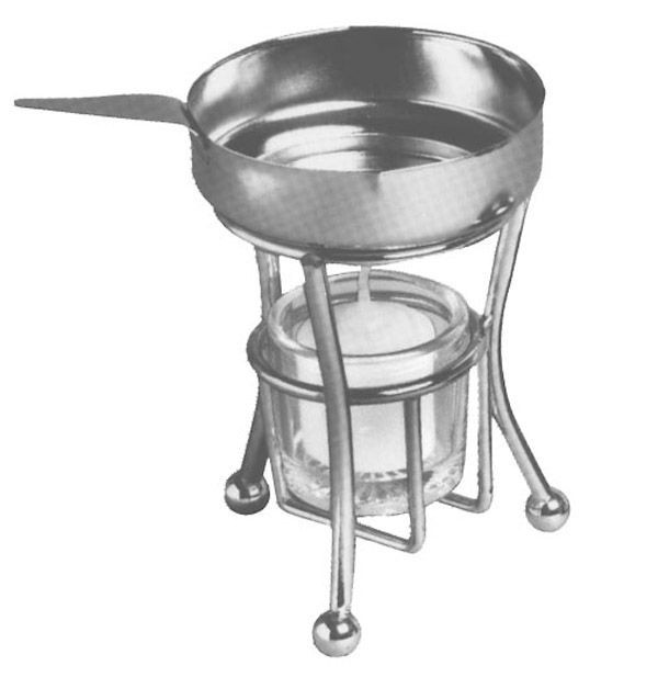 Stainless Steel 4 Oz. Butter Warmer With Pan And Candle Holder
