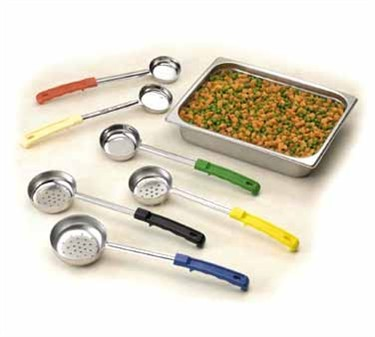 TableCraft 6704 Stainless Steel 4 oz. Solid Spoonout with Green Handle 10-1/2""