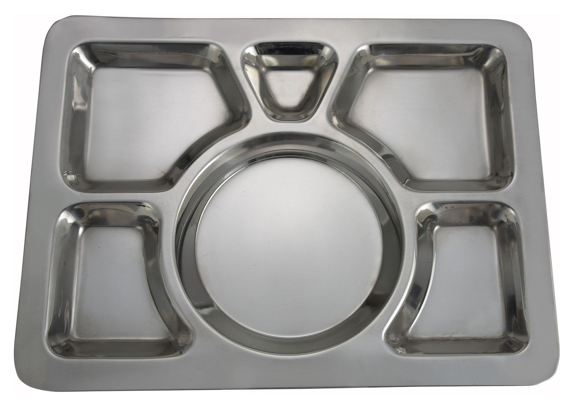Winco SMT-1 Stainless Steel 6-Compartment Mess Tray, Style A