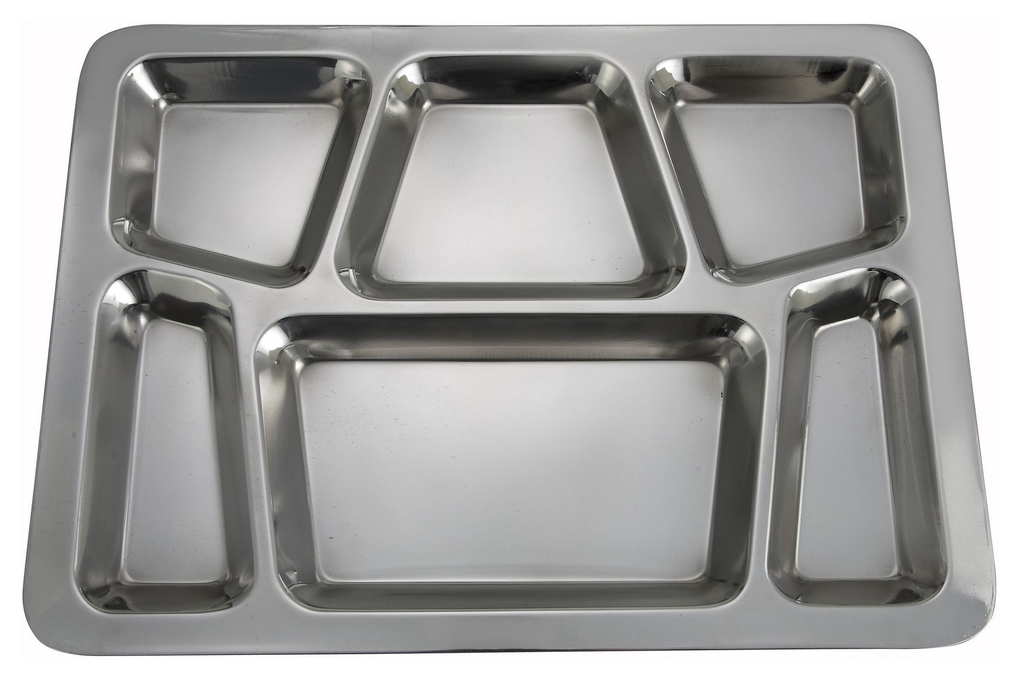 Winco SMT-2 Stainless Steel 6-Compartment Mess Tray, Style B