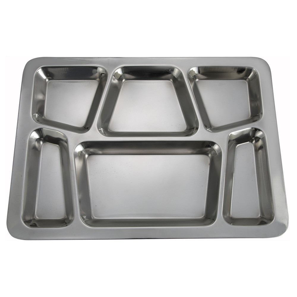 Stainless Steel 6-Compartment Mess Tray - Style B