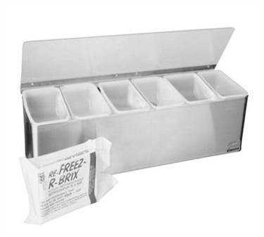 Franklin Machine Products  150-3533 Stainless Steel 6-Section Condiment Tray with Plex Lid