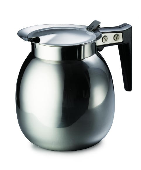 TableCraft DD510 Stainless Steel 64 oz. Coffee Decanter with Black Handle