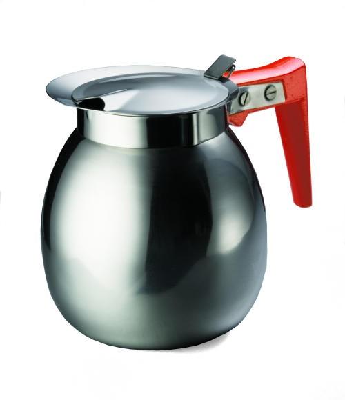 TableCraft DD511 Stainless Steel 64 oz. Coffee Decanter with Orange Handle