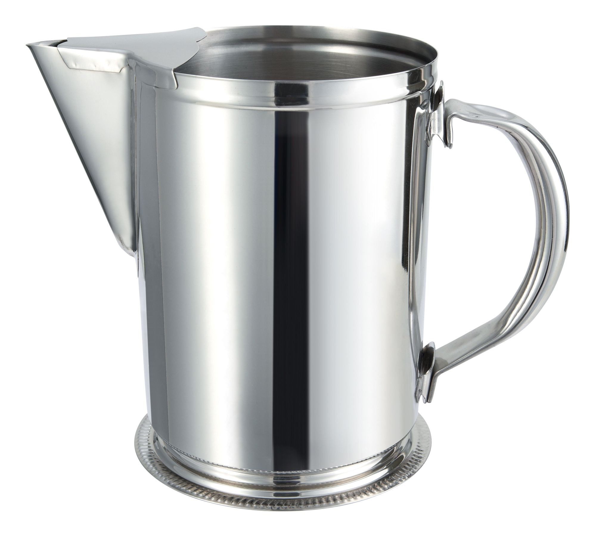 Winco WPG-64 Stainless Steel 64 oz. Water Pitcher with Ice Guard